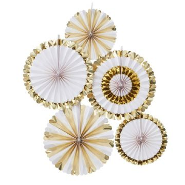 White & Gold Pin Wheel Fan Decorations